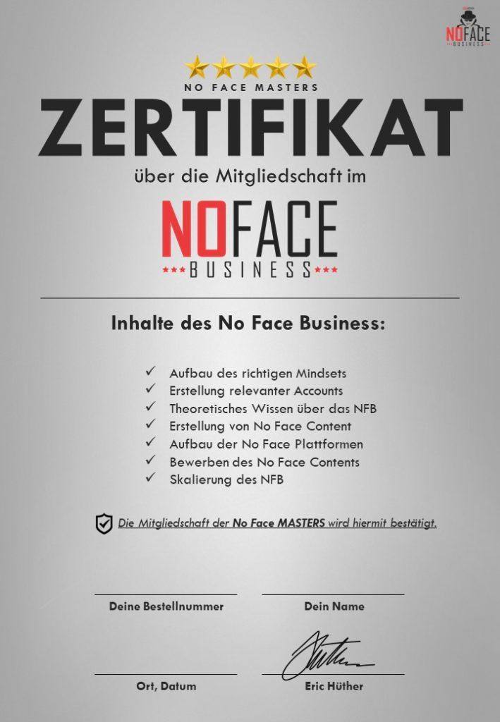 No Face Business Zertifikat